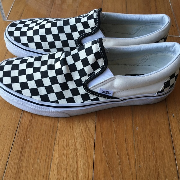 VANS Checkered  Mens Size  10 Black White Slip On